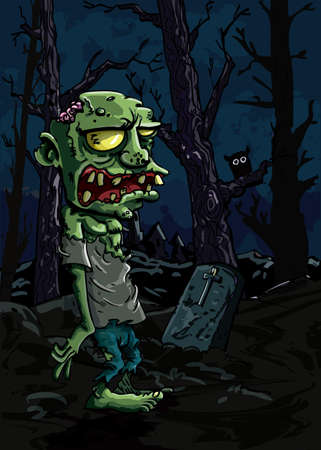 Cartoon zombie in a graveyard. There is a gravestone and a trees in the background Vector