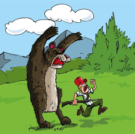 scary forest: Cartoon of bear attacking a hunter with a gun