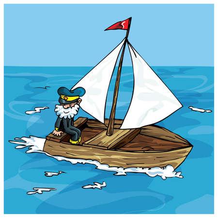 Caricature de voile homme dans un petit bateau. Il a une barbe et un chapeau capitaines