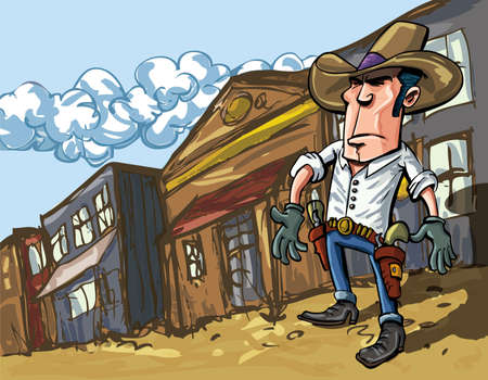 old west: Cartoon cowboy casts a shadow in the dusty streets of a old west town