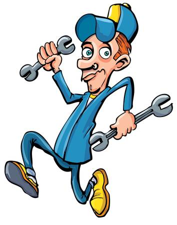 repair man: Cartoon mechanic running with his tools. He is holding two wrenches