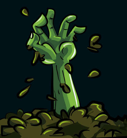 zombie cartoon: Cartoon of a green zombie hand coming out of the earth
