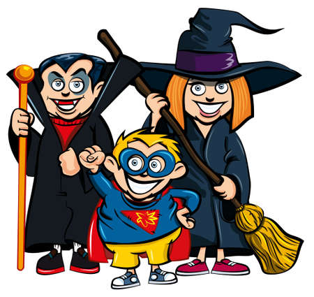 fearsome: Cartoon of group of kids in Haloween costumes. A vampire, a superhero and a witch