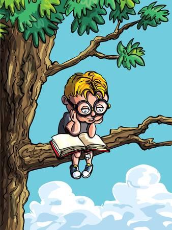 Cartoon van een kleine jongen in een boom. Hij leest een boek