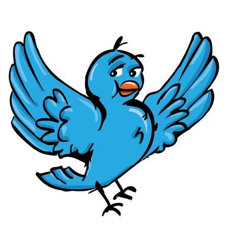 hand drawn wings: Cartoon of blue bird