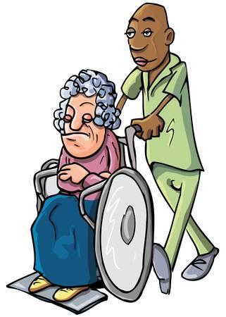 discapacidad: Caricatura de un negro ordenada empujando a una anciana en una silla de ruedas