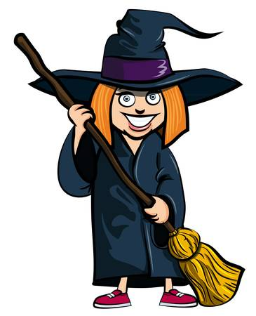 treating: Cartoon of little girl in a witches costume. She is ready for trick or treating