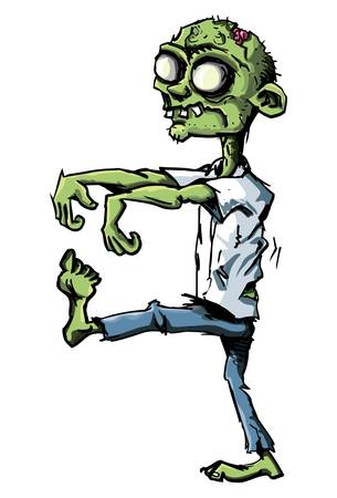 zombie cartoon: Cartoon zombie isolated on white. He is lurching with his arms out stretched