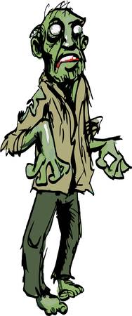 zombie cartoon: Cartoon zombie isolated on white. He is lurching Illustration