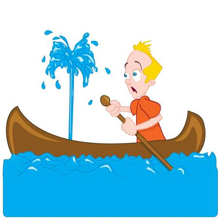 he: Cartoon of a man in a sinking canoe. He is panicking Illustration