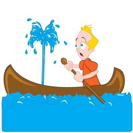 pirag�ismo: Dibujo de un hombre en una canoa de hundimiento. �l es presa del p�nico