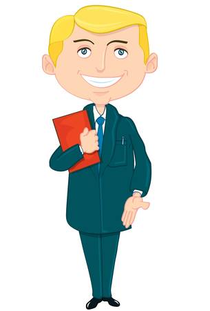 saleman: Cartoon saleman in a suit. He has a folder and extends his hand in greeting
