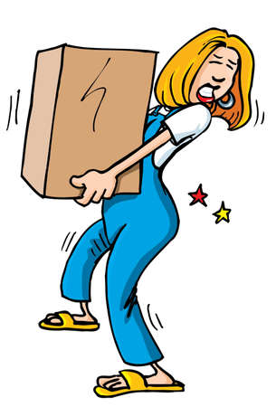 carry: Cartoon of woman picking up a heavy box. It causes her back pain