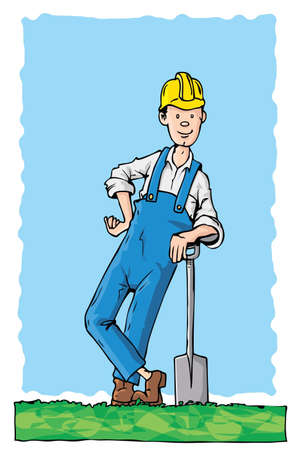 overall: Cartoon workman with a hard hat. He is leaning on a spade