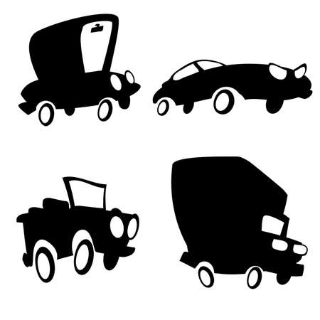 convertible: Set of cartoon cars in silhouette