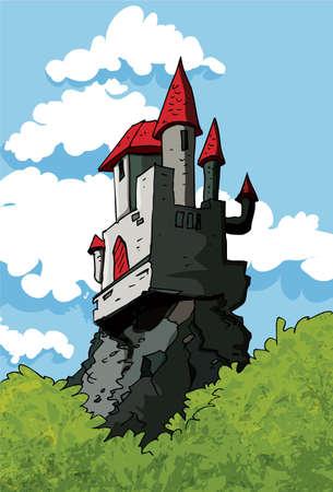 Castillo en el bosque bajo un cielo azul. Nubes detrás de él.