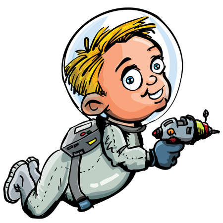 lazer: Cute cartoon of spaceman with a lazer gun. He is in a spacesuit