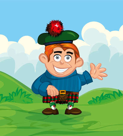 scot: Cute cartoon of scotsman. He is waving