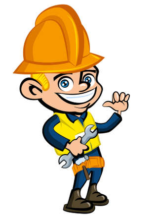 Cartoon cartoon of a worker witha hard hat. He is waving Vector