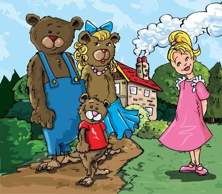 Cartoon of Goldilockes and the three bears infront of the bears house Stock Vector - 9232632