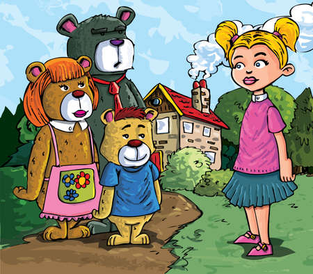 Cartoon of Goldilockes and the three bears infront of the bears house Vector