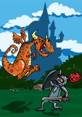 cartoon warrior: Cartone animato di drago attaccando un cavaliere. Un castello in background Vettoriali