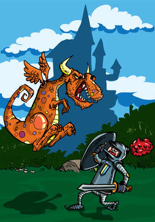 Cartoon of dragon attacking a knight. A castle in the background Vector