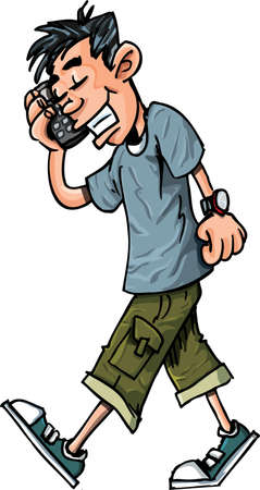 Cartoon of cool teen boy talking on his mobile phone isolated on white Vector