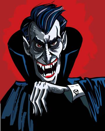 Cartoon vhead and shoulders of a evil vampire on red background