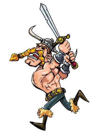 vikings: Cartoon viking recharge avec son �p�e isol�e sur fond blanc Illustration