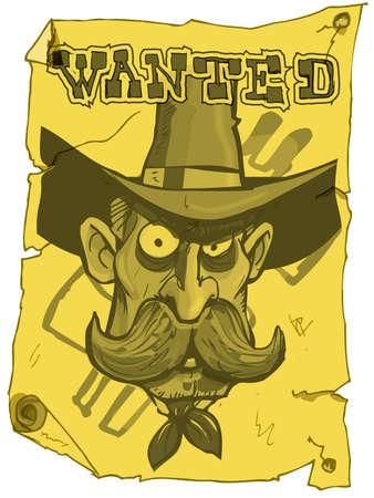 viejo oeste: P�ster de vaquero querido de dibujos animados del viejo oeste