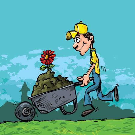 carretilla: Hombre de jardinero de dibujos animados empujando una carretilla llena de tierra
