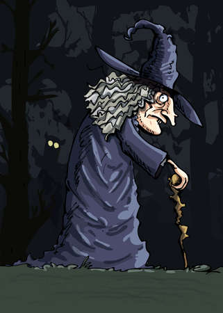 Dark creepy witch in the dark forest. An owl in the background Vector