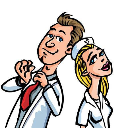 Cartoon doctor flirting with a nurse isolated on white Vector