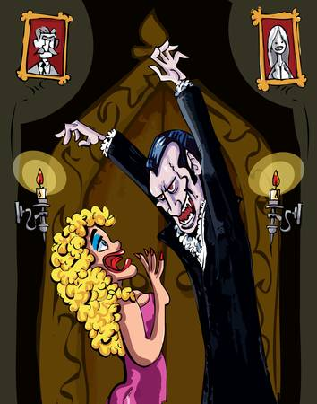Cartoon Vampire menacing a blonde woman in a darkened room Vector