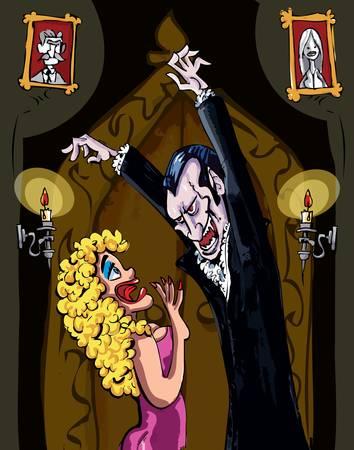 Cartoon Vampire menacing a blonde woman in a darkened room Stock Vector - 9290191