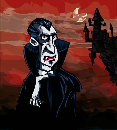 vampire: Cartoon Vampire with a castle in the background