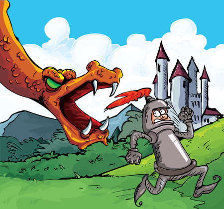 feroz: Cartoon of a knight running from a fierce dragon. Castle in the background Ilustra��o