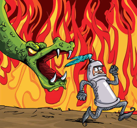 Cartoon of a knight running from a fierce dragon. Fire in the background Ilustração