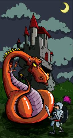 Cartoon of a knight facing a fierce dragon. A medieval castle in the background Vector
