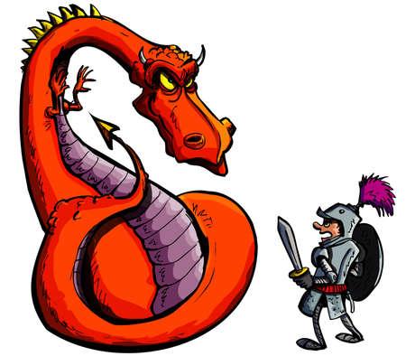 castillo medieval: Dibujo de un caballero frente a un dragón feroz. Aislados en blanco