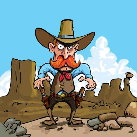he: Cartoon cowboy with sixguns . He is in the desert