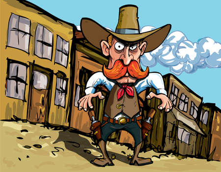 Cartoon cowboy with sixguns . Town street in the background Vector