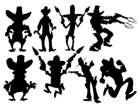 Set of cowboy silhouettes isolated on white Vector