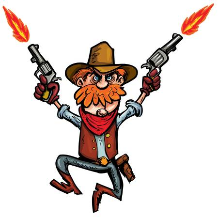 cowboy up: Cartoon cowboy jumping up and down with six guns. Isolated on white Illustration