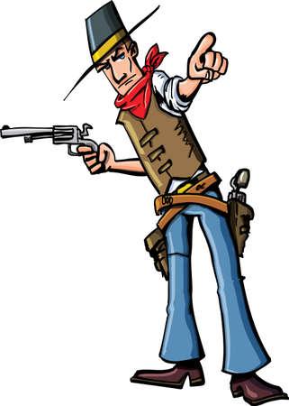 카우보이 가리키는 만화. 그는 다른 손에 총을 가지고있다.
