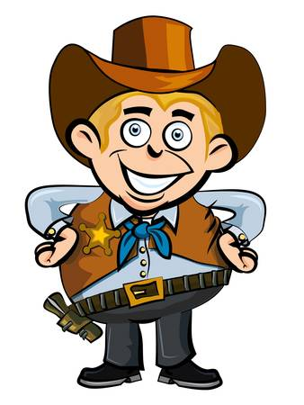 Cute cartoon cowboy smiling.Isolated on white Stock Vector - 9290062