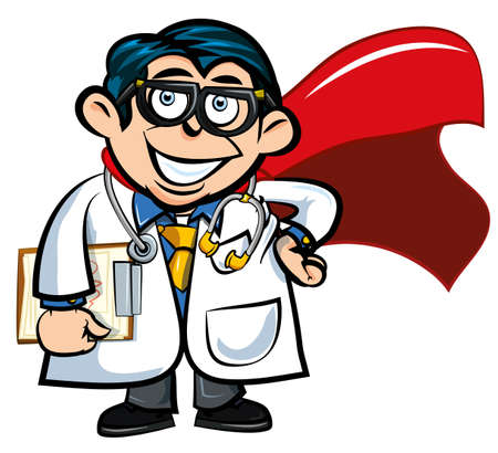 Cartoon doctor with a superhero cape. Isolated on white Vector