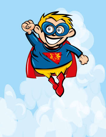 Cute cartoon Superboy flying up. Blue sky behind Vector