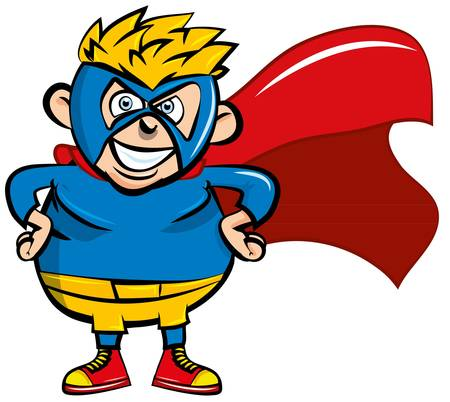 superboy: Cute cartoon Superboy. He is isloated on white